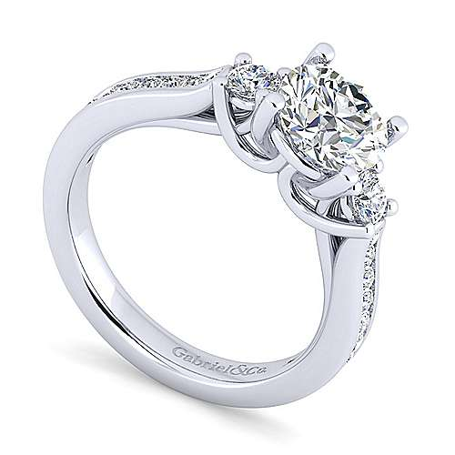 14K White Gold Round Three Stone Diamond Engagement Ring