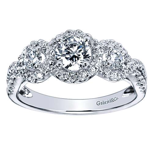 14K White Gold Round Three Stone Halo Complete Diamond Engagement Ring
