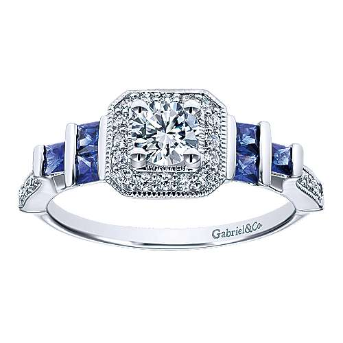 14K White Gold Round Three Stone Halo Sapphire and Diamond Engagement Ring