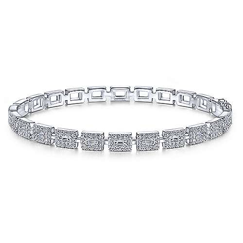 14K White Gold Round and Baguette Diamond Bangle Bracelet