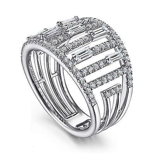 14K White Gold Round and Baguette Diamond Cage Ring