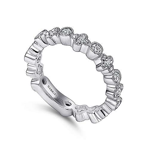 14K White Gold Round and Clover Diamond Stackable Ring