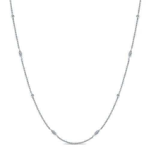 14K White Gold Round and Marquise Station Diamond Necklace