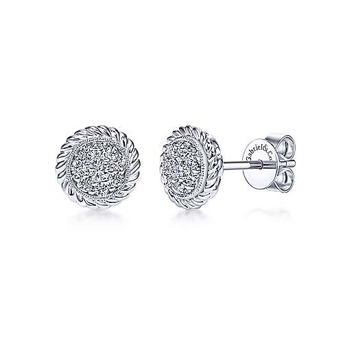 14K White Gold Round pave Diamond with Twisted Rope Frame Stud Earrings