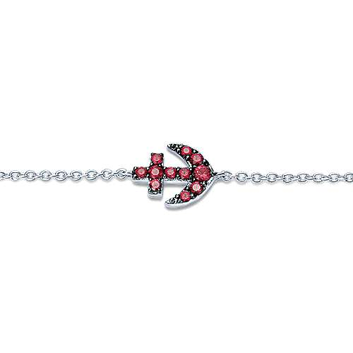 14K White Gold Ruby Anchor Chain Bracelet