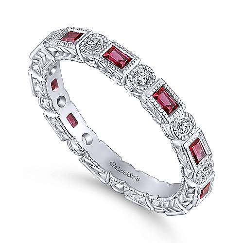 14K White Gold Ruby Baguette and Diamond Round Eternity Ring