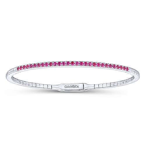 14K White Gold Ruby Bangle
