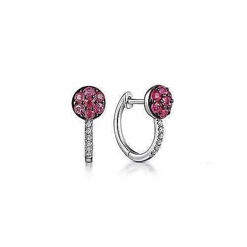 14K White Gold Ruby Cluster and 10mm Diamond Huggie Earrings