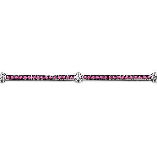 14K White Gold Ruby Tennis Bracelet with Round Diamond Stations
