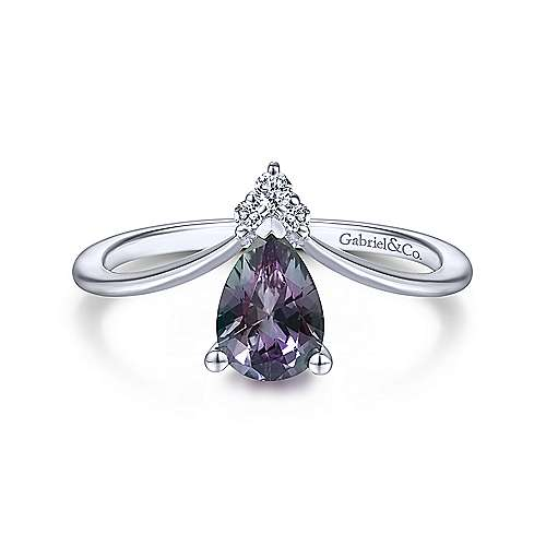 Gabriel - 14K White Gold S.Alexandrite Fashion Ring