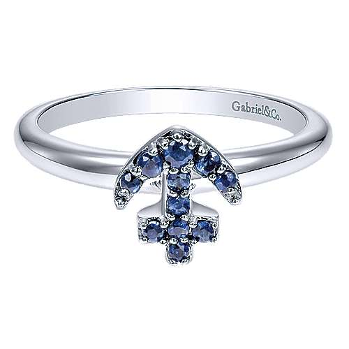 14K White Gold Sapphire Anchor Ring