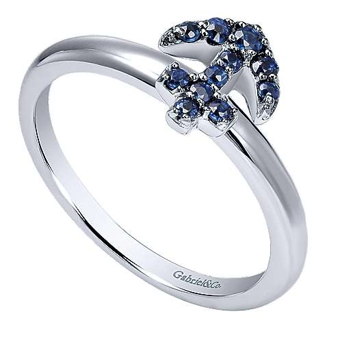 14K White Gold Sapphire Anchor Ring