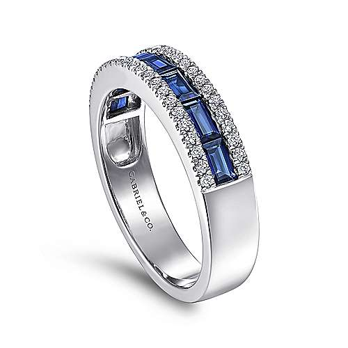 14K White Gold Sapphire Baguette and Diamond Row Band