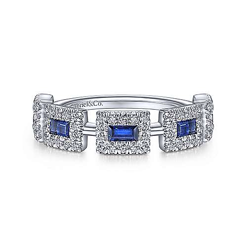14K White Gold Sapphire Baguette with Diamond Halo Station Ring