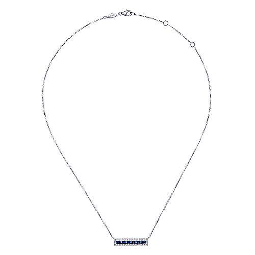 14K White Gold Sapphire Baguettes and Diamond Halo Rectangular Bar Necklace
