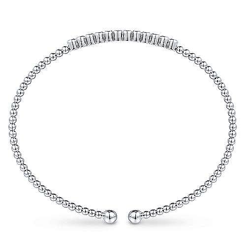 14K White Gold Sapphire Bangle