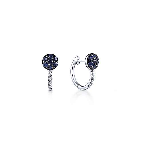 14K White Gold Sapphire Cluster and 10mm Diamond Huggie Earrings