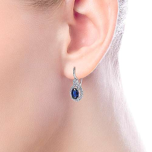 14K White Gold Sapphire Oval and Diamond Halo Leverback Earrings