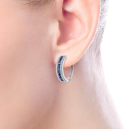 14K White Gold Sapphire Pavé 15mm Diamond Huggie Hoop Earrings