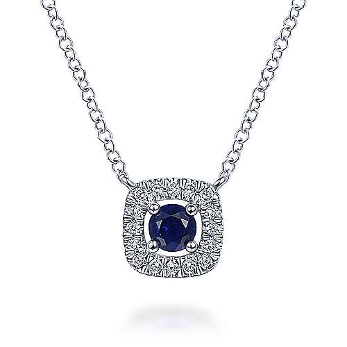 14K White Gold Sapphire and Cushion Shape Diamond Halo Pendant Necklace
