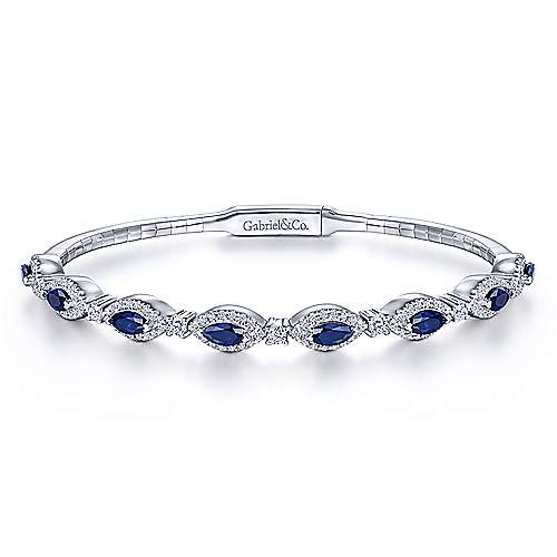14K White Gold Sapphire and Diamond Bangle