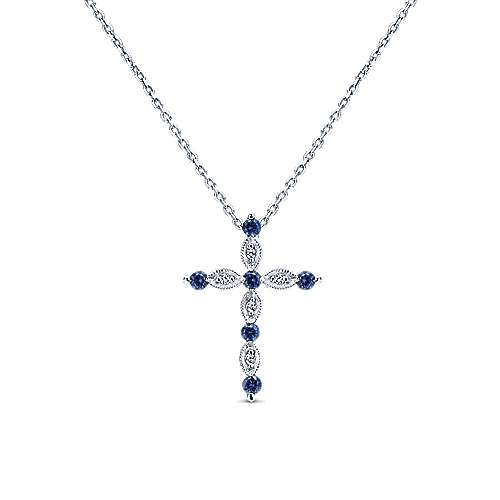 14K White Gold Sapphire and Diamond Cross Pendant Necklace
