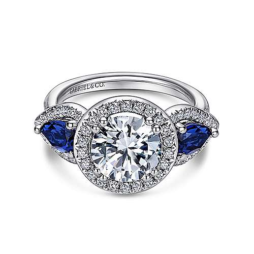 14K White Gold Sapphire and Diamond Engagement Ring