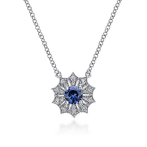 14K White Gold Sapphire and Diamond Flower Pendant Necklace