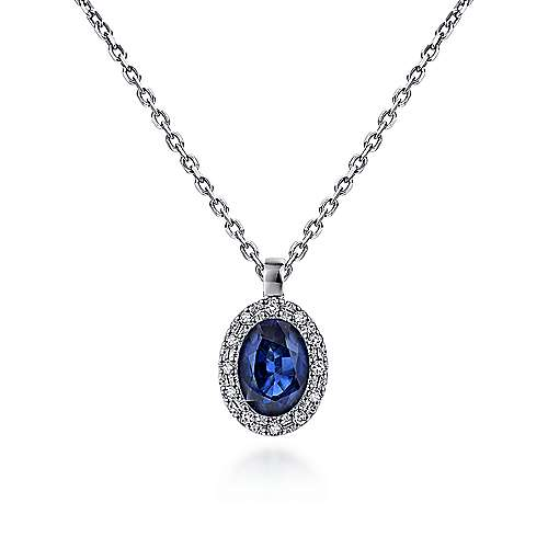 14K White Gold Sapphire and Diamond Halo Drop Necklace