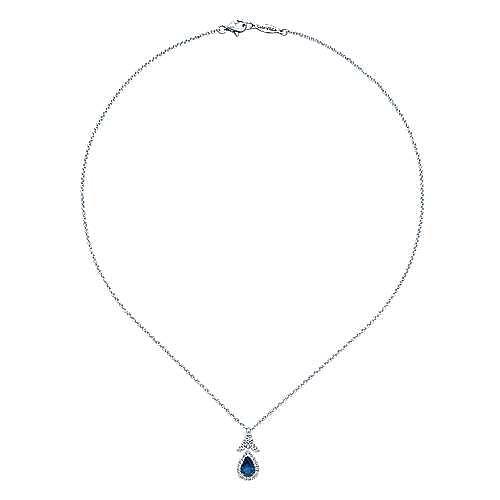 14K White Gold Sapphire and Diamond Halo Teardrop Pendant Necklace