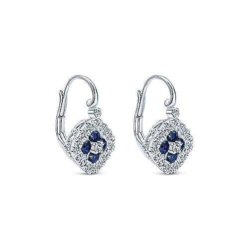14K White Gold Sapphire and Diamond Leverback Earrings