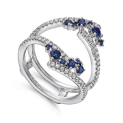 14K White Gold Sapphire and Diamond Ring Enhancer