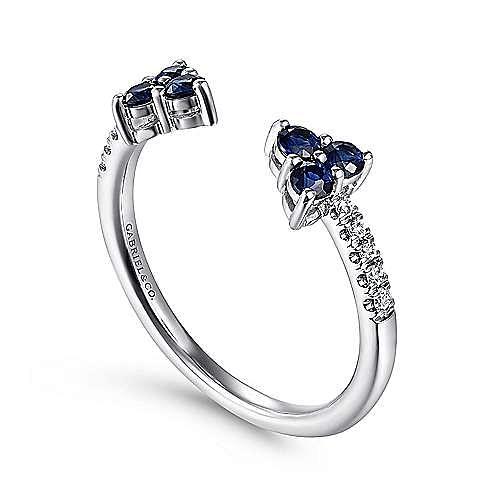 14K White Gold Sapphire and Diamond Split Ring