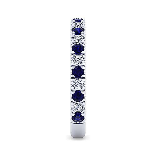 14K White Gold Sapphire and Diamond Stackable Band