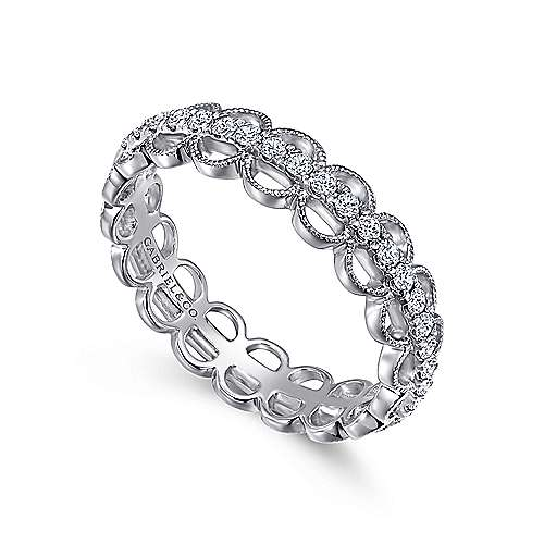 14K White Gold Scalloped Diamond Band Ring