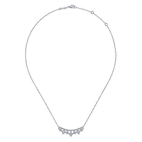 14K White Gold Scalloped Diamond Bib Necklace