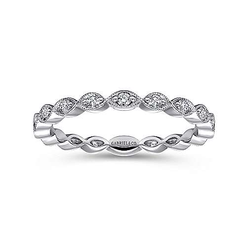 14K White Gold Scalloped Stackable Diamond Ring