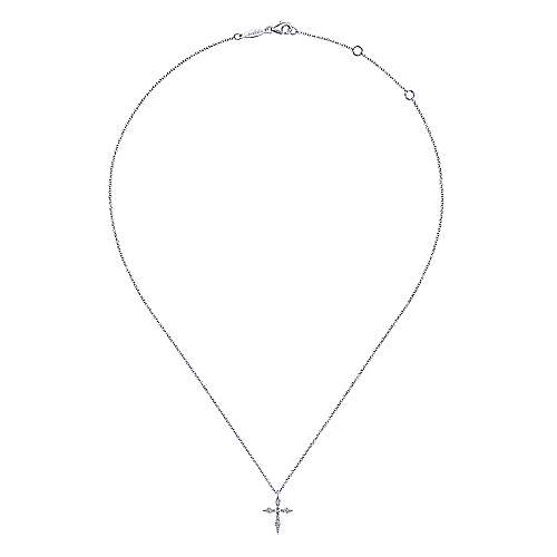 14K White Gold Sculpted Diamond Cross Pendant Necklace