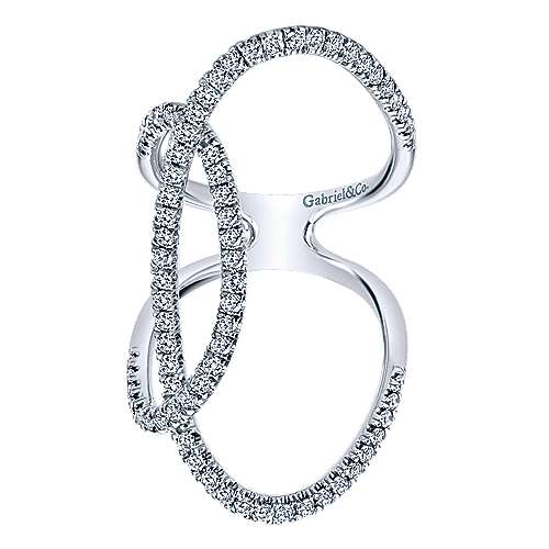 14K White Gold Sculptural Overlapping Oval Diamond Statement Ring