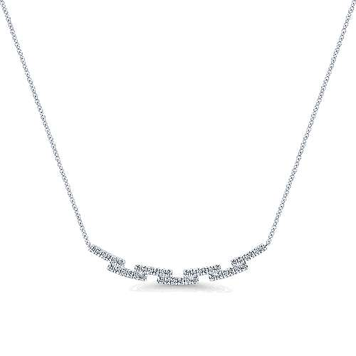 14K White Gold Segmented Curved Diamond Bar Necklace