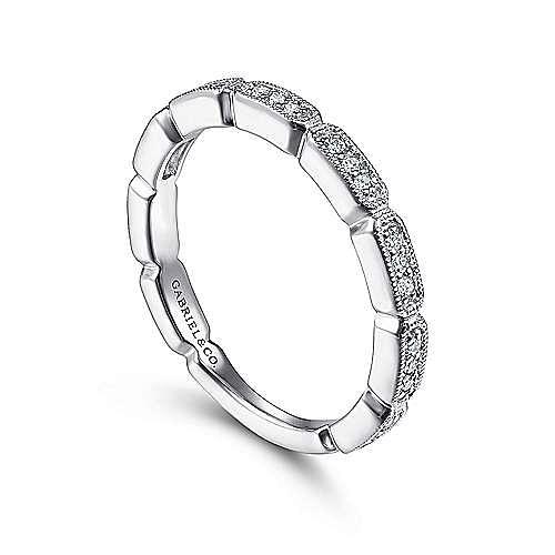 14K White Gold Segmented Diamond Stackable Ring
