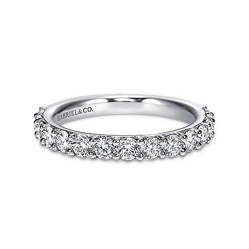 14K White Gold Shared Prong 15 Stone Diamond Wedding Band