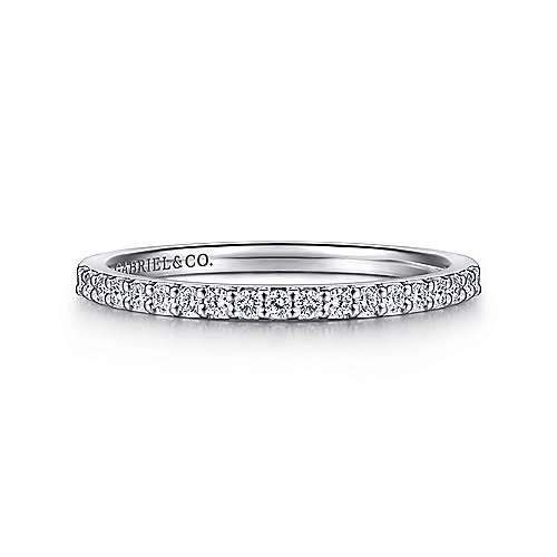 14K White Gold Shared Prong 19 Stone Diamond Wedding Band