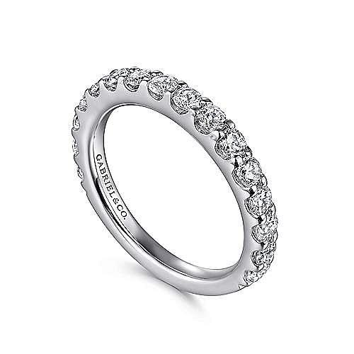 14K White Gold Shared Prong Diamond Wedding Band