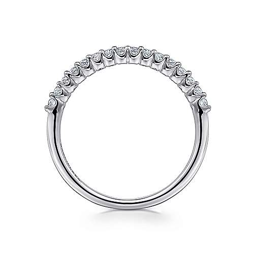 14K White Gold Shared Prong Set Diamond Wedding Band