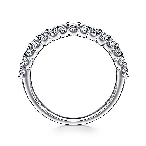 14K White Gold Shared Prong Set Diamond Wedding Band
