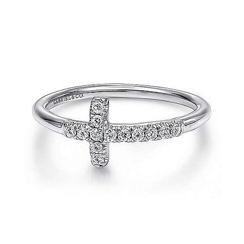 14K White Gold Sideways Diamond Cross Ring