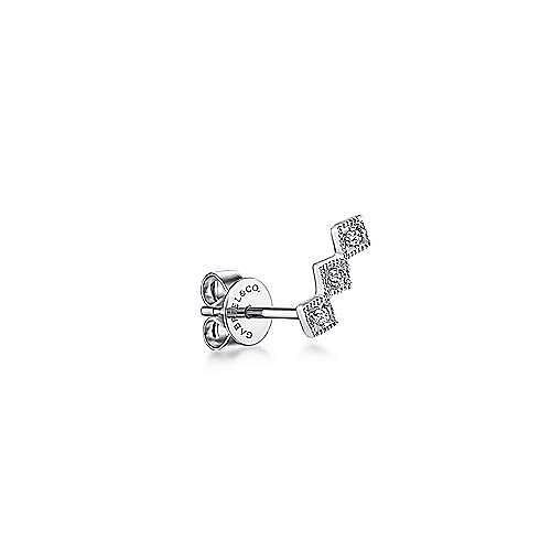 14K White Gold Single 3 Station Diamond Stud Earring