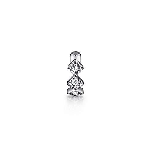 14K White Gold Single Diamond Square Ear Cuff Earring