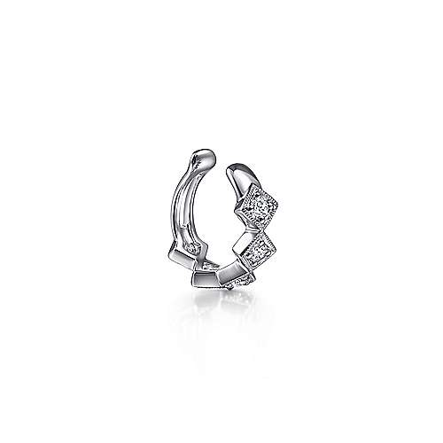 14K White Gold Single Diamond Square Ear Cuff Earring